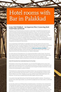 Hotel rooms with Bar in Palakkad