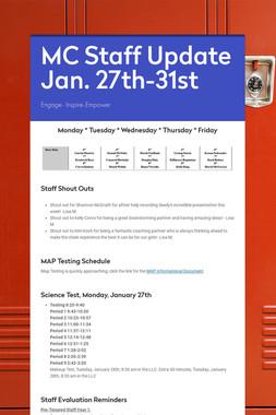 MC Staff Update Jan. 27th-31st