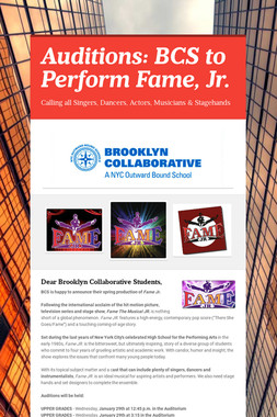 Auditions: BCS to Perform Fame, Jr.