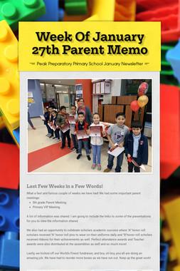 Week Of January 27th Parent Memo