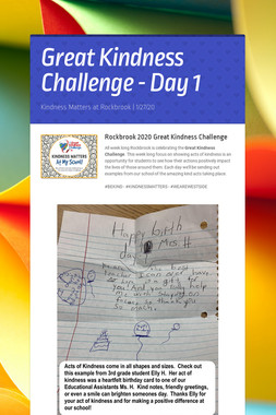 Great Kindness Challenge - Day 1