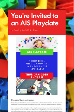 You're Invited to an AIS Playdate