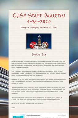 CHS9 Staff Bulletin 1-31-2020