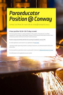 Paraeducator Position @ Conway