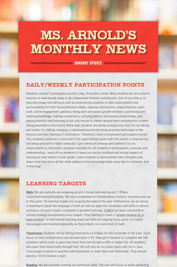 Ms. Arnold's Monthly News