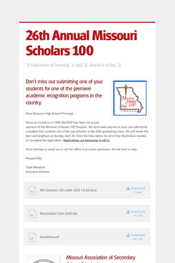 26th Annual Missouri Scholars 100
