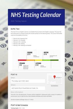 NHS Testing Calendar