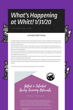 What's Happening at Whitt! 1/31/20