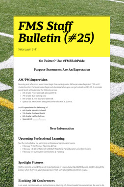 FMS Staff Bulletin (#25)