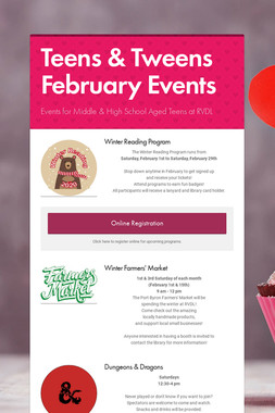 Teens & Tweens February Events