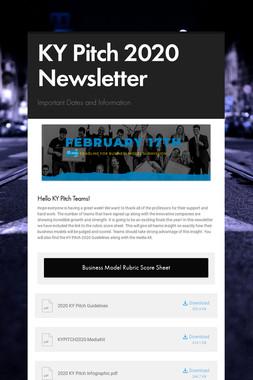 KY Pitch 2020 Newsletter