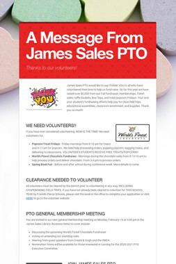 A Message From James Sales PTO