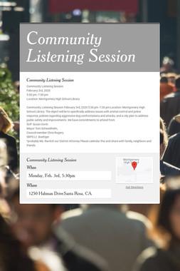 Community Listening Session