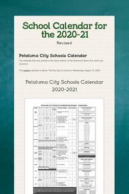 School Calendar for the 2020-21