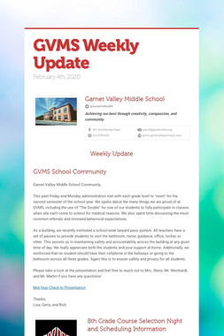 GVMS Weekly Update