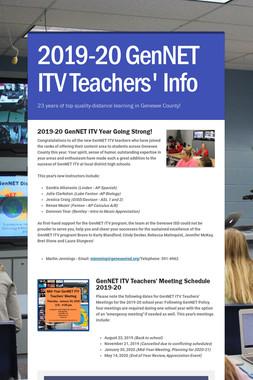 2019-20 GenNET ITV Teachers' Info