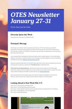 OTES Newsletter January 27-31