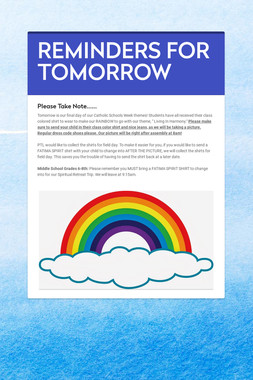 REMINDERS FOR TOMORROW