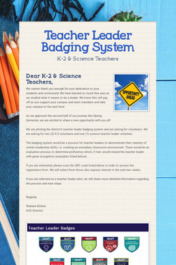 Teacher Leader Badging System