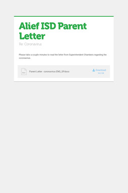 Alief ISD Parent Letter