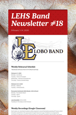 LEHS Band Newsletter #18