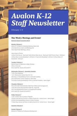 Avalon K-12 Staff Newsletter