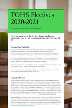 TOHS Electives 2020-2021