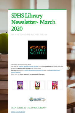 SPHS Library Newsletter- March 2020