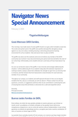 Navigator News Special Announcement