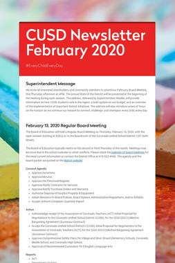CUSD Newsletter  February 2020