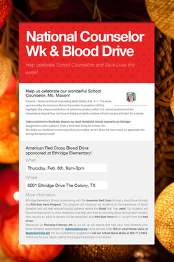 National Counselor Wk & Blood Drive