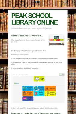 PEAK SCHOOL LIBRARY ONLINE