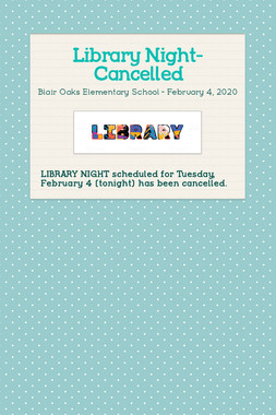 Library Night- Cancelled