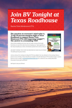 Join BV Tonight at Texas Roadhouse