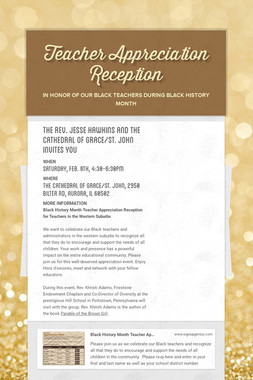 Teacher Appreciation Reception