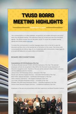 TVUSD Board Meeting Highlights
