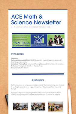 ACE Math & Science Newsletter