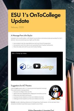 ESU 1's OnToCollege Update