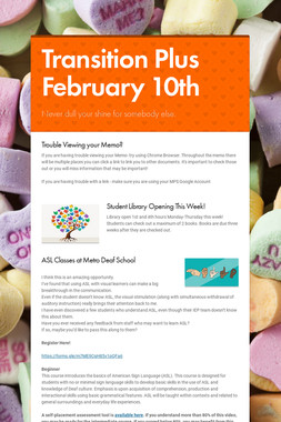 Transition Plus  February 10th