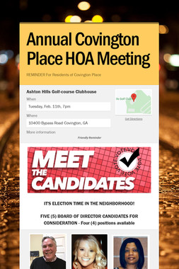 Annual Covington Place HOA Meeting