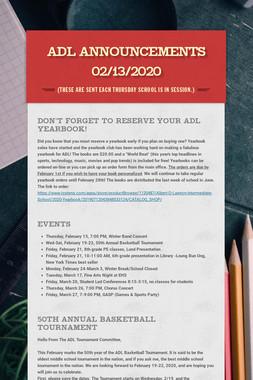 ADL Announcements 02/13/2020