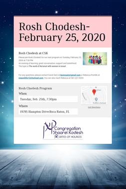Rosh Chodesh- February 25, 2020