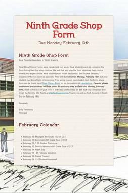 Ninth Grade Shop Form