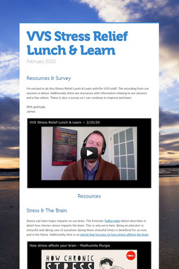 VVS Stress Relief Lunch & Learn