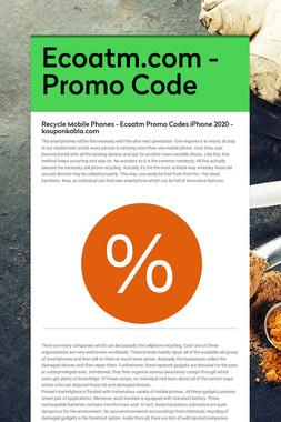 Ecoatm.com - Promo Code