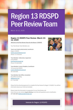 Region 13 RDSPD Peer Review Team