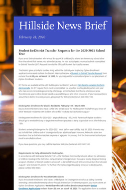 Hillside News Brief