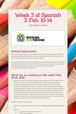 Week 3 of Spanish 3:  Feb. 10-14