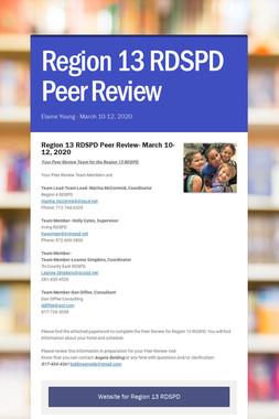 Region 13 RDSPD Peer Review