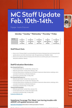 MC Staff Update Feb. 10th-14th.